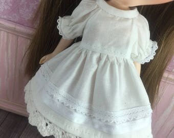 Blythe Dress with sleeves  - Ivory and White