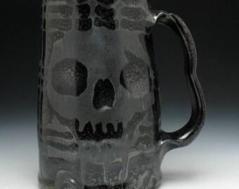 Skull Beer Mug in Metallic Blackout Plaid