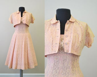 1950s Pink Lace Dress and Jacket