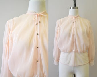 1940s Paulwin Pink Sheer Blouse with Full Sleeves