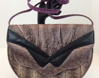 Vintage Mauve Saldana Genuine Snakeskin Clutch with Hidden Shoulder Strap