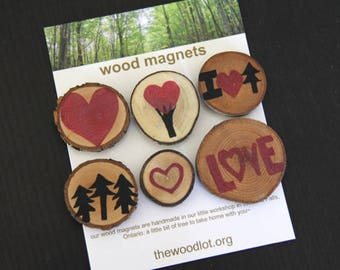 I love trees - 6 wood magnets - for your home or office