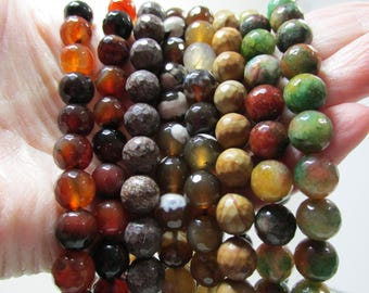 Sale Bead Lot Supplies Strands 16 inch 10mm Faceted Jade, Wood, Carnelian and more 8 Strands Destash