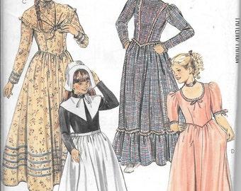 McCall's 2057 Girl's Puritan Pilgrim Prairie Farm DRESS Costume Sewing Pattern UNCUT Size 12