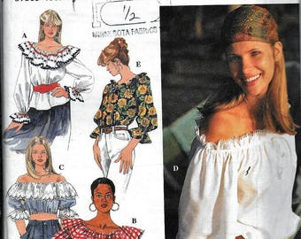 Vintage Simplicity 9582 Boho Gypsy Off The Shoulder Top Blouse Sewing Pattern 1970s Style UNCUT Size XS, S, M