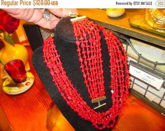 Superior Signed BASTIAN Brothers 1930's/1940's RED JASPER Multi Strand Vintage Necklace & Bracelet Set - Exceedingly Rare
