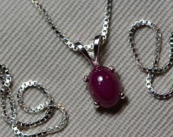 Ruby Necklace, Certified Natural 1.74 Carat Ruby Cabochon Pendant Appraised at 775.00, July Birthstone, Sterling Silver, Red Ruby Cab