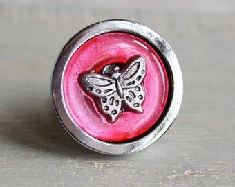 pink butterfly drawer pull, decorative drawer pull, cabinet knob, childrens room, dresser knob, dresser pull, drawer knob, kids decor
