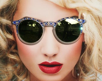 Round Blue Hippie Mirrored Sunglasses, Mirrored Sunglasses, Blue Sunglasses, Round Mirrored Sunglasses, Pearl Sunglasses