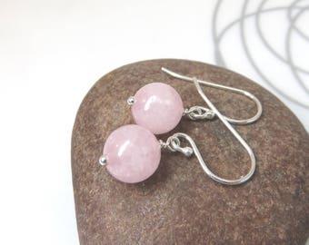 Rose quartz earrings - sterling silver rose quartz earrings -single rose quartz bead earrings  pink gemstone earrings - minimalist earrings