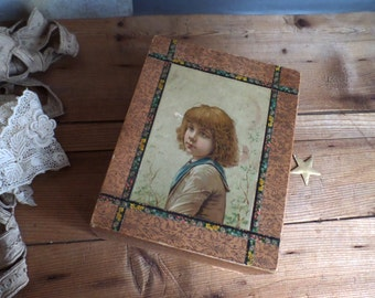 Old French paper covered box  Picture of a little boy Chromolitography  Boudoir style