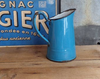 Old FRENCH small enamelled body pitcher 1920s - Blue enamel
