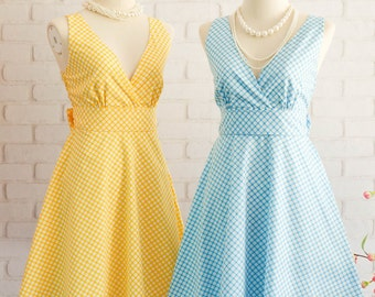 Yellow Dress Blue Dress Yellow Blue Plaid Dress Yellow Bridesmaid Dress Blue Bridesmaid Dresses Blue Party Dress Yellow Party Dress Sundress