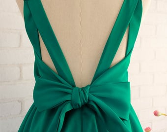 Emerald Green dress Emerald Green party dress Emerald Green cocktail dress Emerald Green bridesmaid dress Green backless dress Emerald