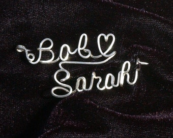 Double Name Brooch in Sterling Silver Wire (Romance Style)