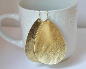 Gold Teardrop Drop Leather Earrings