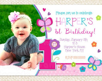 Butterfly 1st Birthday Invitations - Butterfly Invitations - Butterfly First Birthday Invitations - Butterfly