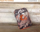 FALLSALE Orange Camo Quilted Wristlet Personalize or monogram Included