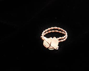 Sea Glass Ring, Copper and Gold Girlfriend Ring, California Seaglass Rings, Sea Glass Jewelry, Natural Genuine Beach Ring, Mom Gift