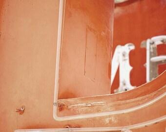 Neon Lights Photo, Old Marquee Sign, Orange Industrial Art
