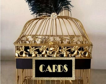 Great Gatsby Wedding Card Holder, Gold Bird Cage with Black Ostrich Feathers