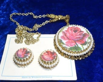 Beautiful 1940s Pink Rose pendant & earrings signed West Germany, Necklace Earring Set, pink rose  pendant, faux pearl signed West Germany
