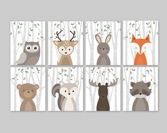 Woodland Nursery Prints Set Woodland Nursery Forest Animals Woodlands Nursery Print Fox Decor Forest Friends Woodland Animals Set Forest Art