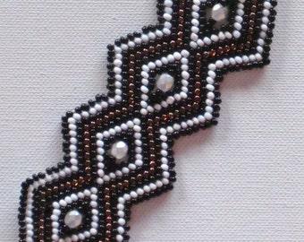 Bead weaving bracelet, black, copper and white