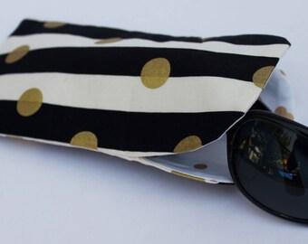 SALE Sunglasses case, soft eyeglass case, soft sunglass case, black & white striped case, eyeglasses case, fabric sunglass case
