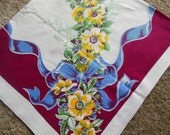 Bright Floral in Burgandy Blue & Yellow Tablecloth, 1950s Cotton Tablecloth