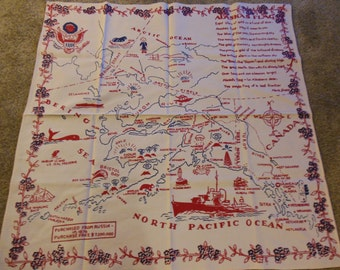 Fabulous Alaska Map Tablecloth, Bright Colors, Cotton Card Table Sized