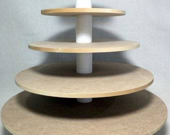 "5 Tier Round Custom Made Larger Capacity Unfinished Cupcake Stand. Holds up to 156 (3"" diameter) cupcakes."