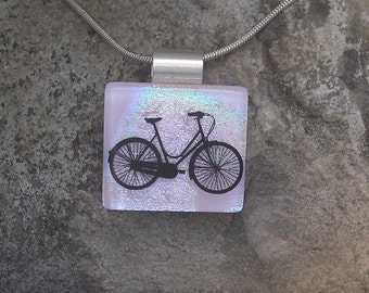 Bicycle Necklace Fused Dichroic Glass Bike  Pendant