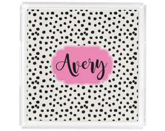 "Personalized Square Lucite Tray - Monogram Vanity / Perfume Tray - 8"" x 8"" - Hostess Gift - Decorative Tray - Polka Dots"
