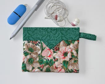 Cosmetic Pouch, Green Floral Patchwork Quilted Jewellery Bag, Cotton Snap Pouch, Fabric bag