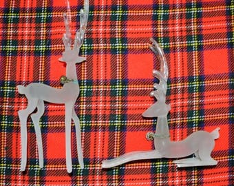 Vintage Deer Couple Frosted Glass Tall Mod