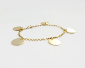 Luna (bracelet) - Good and perfect gift, five 24k gold plated medallion discs on 14k Gold Filled chain