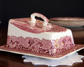 Masons Vista, Red Ware, Cheese Keeper, Antique Butter Dish, Pink Transferware 13781