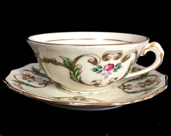 Limoges Tea Cup, Vintage Teacup and Saucer, Japanese Tea, Bone China 13883