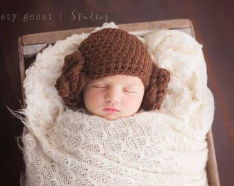 Princess Leia hat, star wars photo prop, princess Leia costume, halloween costume, baby girl hats, princess leia inspired hat