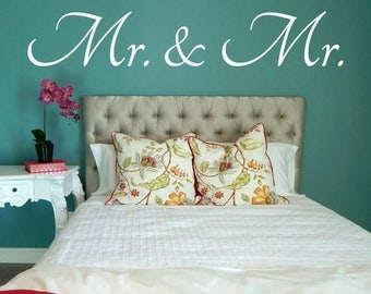 Mr and Mr Wall Decal, Mr and Mr Decal, Bedroom Decal, Bedroom Wall Decal, Wall Decor, Couple Wall Decal, Wedding Gift, Vinyl Decal, Decal