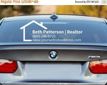 Realtor Decal, Realtor Car Decal, Real Estate Decal, Advertising, Promotion, Business Car Decal, Car Window Decal, Business Decal, Car Deca