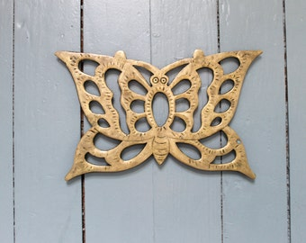 Kitchen Charm... Vintage Brass Butterfly Trivet, Hot Plates, Kitchen Decor