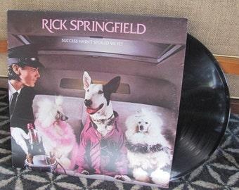 "Vintage 80's ""Success Hasn't Spoiled Me Yet"" Rick Springfield Vinyl Record Album - 1982 - RCA - Kristina - What Kind of Fool Am I - 80's Pop"