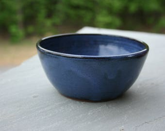 Small Pottery Cereal Bowl Cobalt Blue Glaze NC Pottery