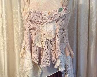 Shabby Doily Top, gorgeous romantic vintage crochet doilies lace, tattered old shabby romantic frayed, beige cream cotton, doily dress cover