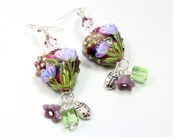 Heart Lampwork Earrings, Hearts and Flowers, Ladybug, Lavender and Green, Tulips, Long Dangle Earrings