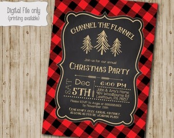 Flannel Christmas Party Invitation, Christmas Party Invites, Holiday Party Invites, Christmas Party Printable, Glitter Plaid Chalkboard