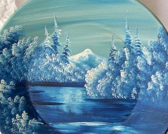 Vintage Gold Mining Pan Painted Snow Scene June Nichols Alaska Wall Hanging Rustic Cabin Decor 1980s