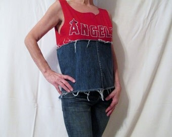 Angels Game Day Top, Denim Red and Jean Los Angeles Angels Baseball Opening Day Spring Training Top